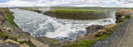 extreme angle: Panorama of a Gullfoss waterfall in Iceland, Europe