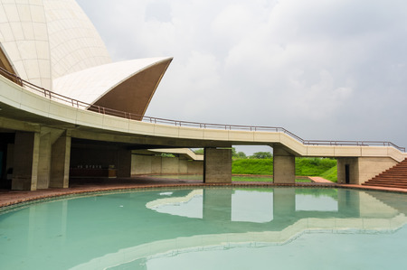 DELHI, INDIA - JULY 27: Panoramic view of Lotus Temple in Delhi, India on July 27, 2013. It is the temple open to all religions.