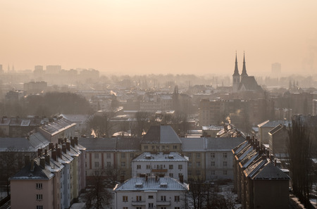 Cityscape of Ostrava city in smog pollution