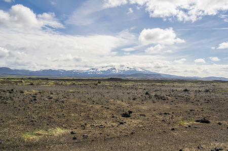 hekla: Landscape of Icelandic volcano Hekla with blue summer sky