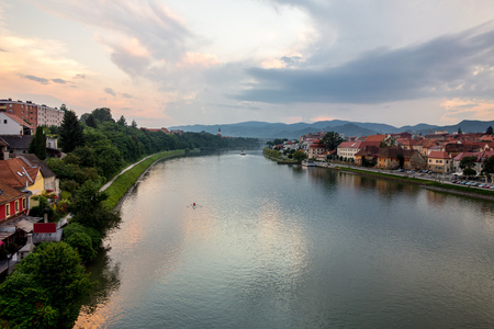 drava: Drava river in Maribor city in Slovenia