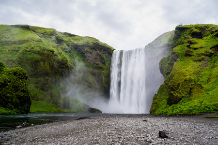 skogafoss waterfall: Very famous Skogafoss waterfall in Iceland, Europe
