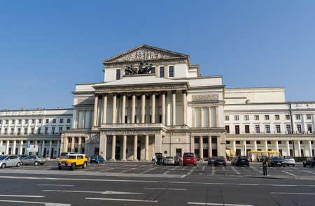 WARSAW, POLAND - AUGUST 9: The building of National Opera House (Opera Narodowa, Teatr Wielki) in Warsaw, Poland. The image was taken on August 9, 2015.