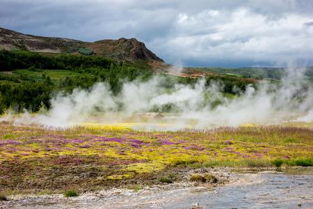 icelandic: Summer Icelandic hilly landscape near famous Geysir