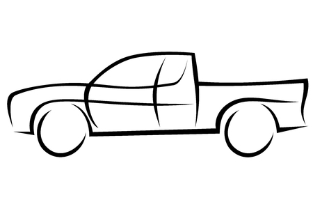 Aerodynamic American pickup with four wheel drive Illustration