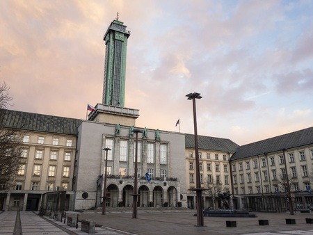 OSTRAVA, CZECH REPUBLIC - MARCH 2: Town hall in Ostrava, Czech Republic during beautiful sunset. It was. uilt in 1920s and it is the highest building in the city.