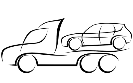 Dynamic illustration of a tow truck helping to transport a damaged SUV car 일러스트