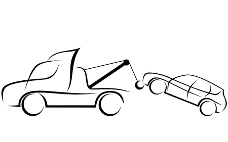 Dynamic illustration of a tow truck helping to transport a damaged SUV car Çizim