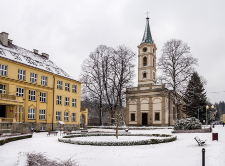 Evangelical church of Saint Peter and Paul in Wisla, Poland in winter