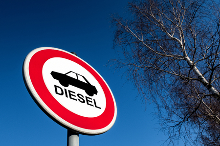 The traffic sign forbidding to use diesel cars in some European Union cities because sof NOx emissions