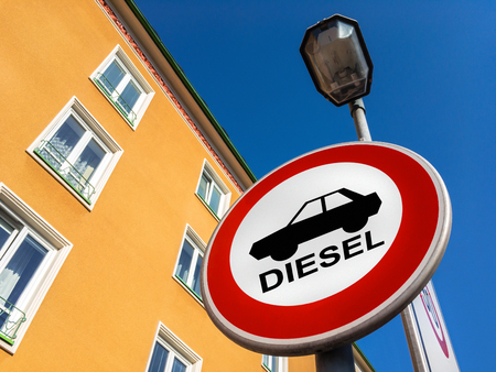 The traffic sign forbidding to use diesel cars in some European Union cities because sof NOx emissions against sorela house