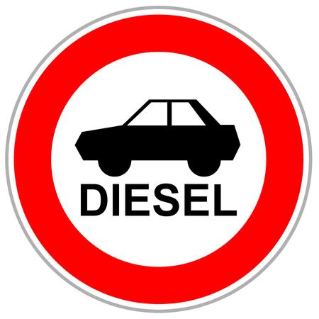 Red traffic sign restricting diesel cars to enter after German emission scandal.