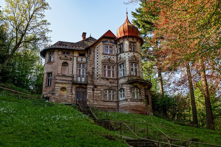 Old abandoned and damaged Panzinka villa in Nachod, Czech Republic that was built in 1905