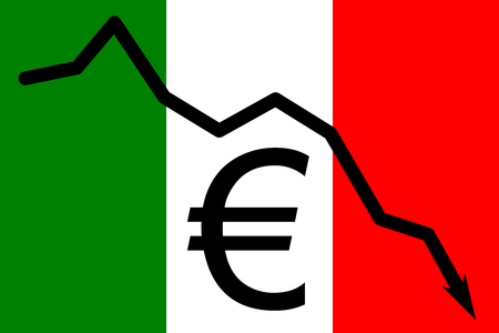 Italian flag depciting problems with Euro currency and its large debt and decreasing amount of money