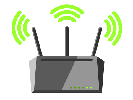 Illustration of wireless router with three antennas spreading a Wi-Fi signal
