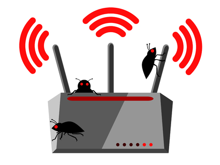 Illustration of wireless router with three Wi-Fi antennas and bugs which has been hacked and is nfected