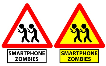 Traffic sign depicting two men walking and staring at screen as smartphone zombies 矢量图像