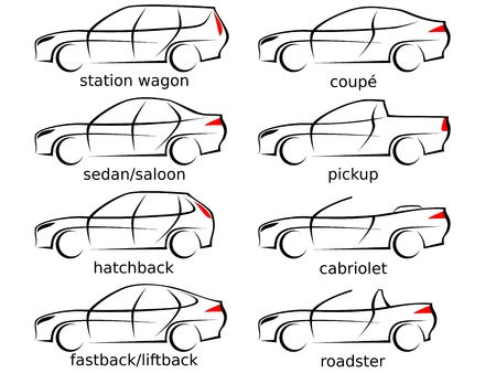 Satz von acht verschiedenen Autoformen als Vektorillustration mit modernen aerodynamischen Linien