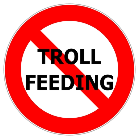 The red circle traffic sign alerting not to feed internet trolls who provoke in discussions Illustration