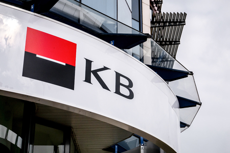 HAVIROV, CZECH REPUBLIC - OCTOBER 21, 2018:  Logo of Komecni Banka branch (Societe Generale  Commercial Bank) in Havirov, Czech Republic. The image was taken on October 21, 2018.