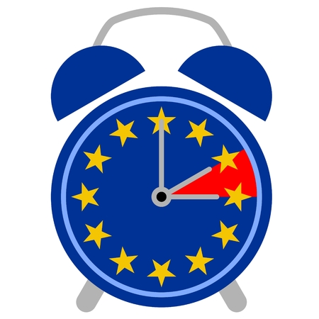 Vector illustration of a retro alarm clock with European flag showing the change between summer and winter time.