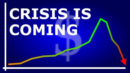The chart with an arrow showing the expected financial crisis coming in 2019 on a blue background 스톡 콘텐츠