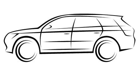 Illustration eines SUV- oder Kombiwagens mit dynamischer Silhouette Vektorgrafik