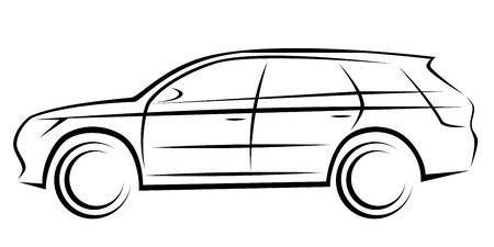 Illustration of a SUV or station wagon car with a dynamic silhouette Illustration