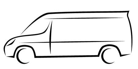 Dynamic vector illustration of a van with long wheelbase and high roof