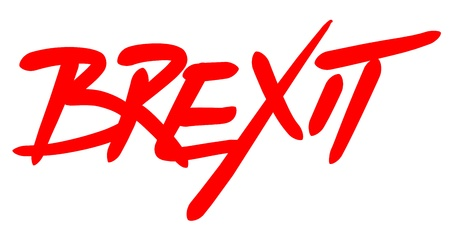 BREXIT word written by hand with a dynamic red font Stock Photo