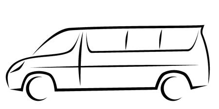 Ilustración de vector dinámico de una minivan para pasajeros que se puede utilizar como autobús de enlace a los aeropuertos. El coche tiene un diseño cinético moderno. Ilustración de vector