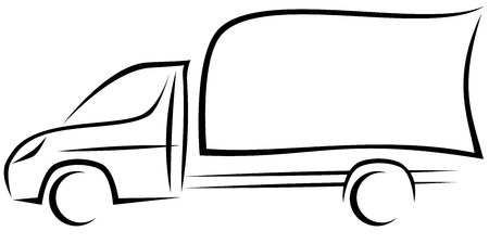 Dynamic vector illustration of a light commercial vehicle with a chassis