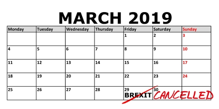 Calendar with marked date March 29, 2019 when the Brexit (United Kingdom exit from EU) should be finished. Image shows the possibility of cancellation of the project 스톡 콘텐츠