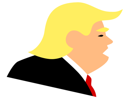 JANUARY 23, 2019: Simple vector illustration of American president Donald Trump. Profil view with mouth open.
