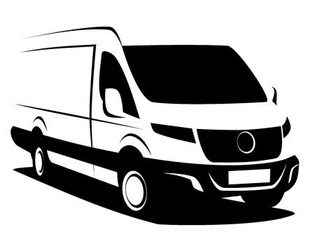 Ilustración de vector dinámico de una furgoneta de reparto comercial utilizada para transportar carga. Puede usarse como logo.