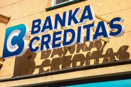 OSTRAVA CZECH REPUBLIC - FEBRUARY 19, 2019: Logo of the Banka Creditas bank on a Sorela building in Ostrava, Czech Republic. Editöryel