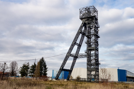 The headframe with mining shaft in an abandoned black coal mine Dul Julius Fucik in Petrvald u Karvine, Czech Republic. The history of the mine started in 19th century and it is not used anymore.