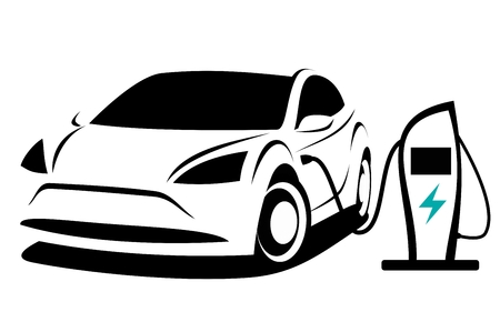 Vector illustration of a modern electric plug-in car with a sporty aerodynamic design which is charged on a special charging point