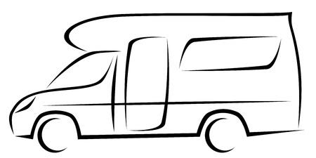 Dynamische Vektorgrafik eines Wohnwagens für Reisende, die für viele Abenteuer verwendet werden kann. Das Auto hat ein modernes kinetisches Design.