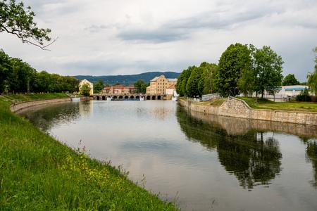Sandstone bridge across the Ohre river in the Terezin town in Czech Republic connecting fortresses Archivio Fotografico