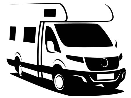 B&W illustration of a camper van (RV) used for family trips and vacation