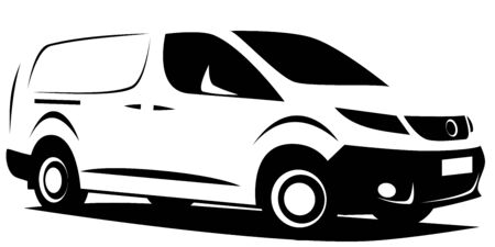 Dynamic illustration of a small commercial delivery van used for transporting cargo.