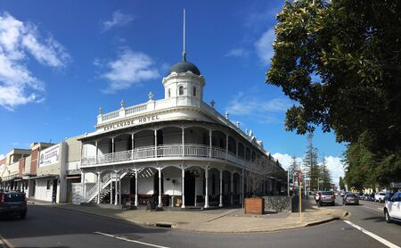 FREMANTLE, WESTERN AUSTRALIA - JULY 14, 2018: Famous Esplanade Hotel in Fremantle, Perth, Western Australia on a corner with a retro style Editorial