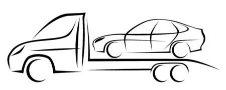Dynamische Vektorgrafik eines Abschleppwagens, der bereit ist, einen Gebrauchtwagen zu importieren und zu exportieren oder ein kaputtes Fahrzeug zur Reparatur zu übergeben