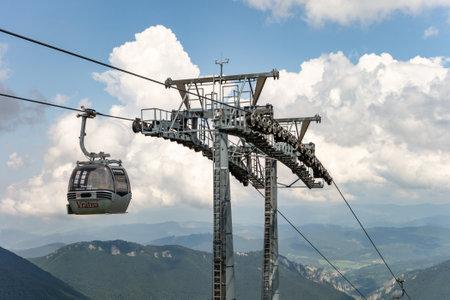 VRATNA DOLINA, SLOVAKIA - JULY 26, 2016: The cableway connecting Vratna and Velky Krivan peak in touristically very popular Vratna Dolina in Mala Fatra, Slovakia