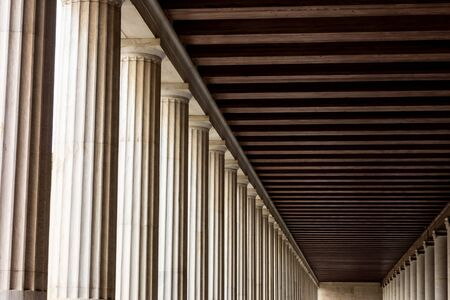 Abstract columns and shadows of thousands years old Stoa of Attalos in Greek Agora, Athens