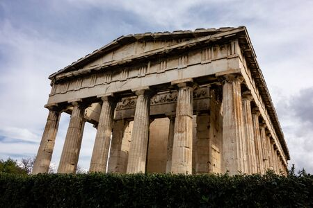 Famous Hefaisteion monument in Greek Agora, Athens in overcast weather and strong perspective view