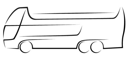 Black logo of a tourist hop-on hop-off bus with three axles and two decks for city cruises