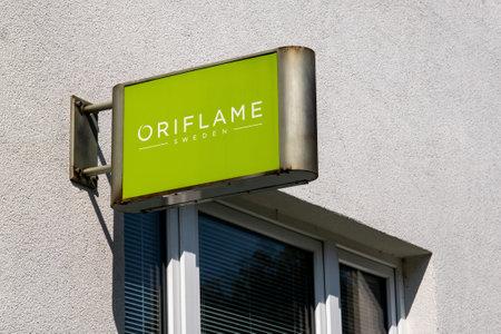 OSTRAVA, CZECH REPUBLIC - SEPTEMBER 1, 2019: Signage of Oriflame Sweden cosmetics company above the entrance to local Czech branch store. Redakční