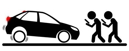 Illustration of a desperately braking car in front of two men walking and staring at screen as smartphone zombies Banque d'images - 130846161